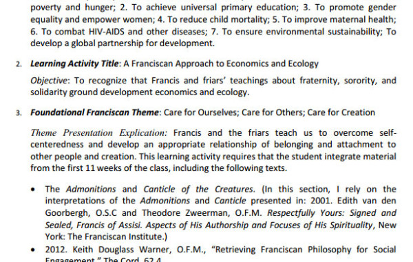 Franciscan Goals for Today/A Franciscan Approach to Economics and Ecology