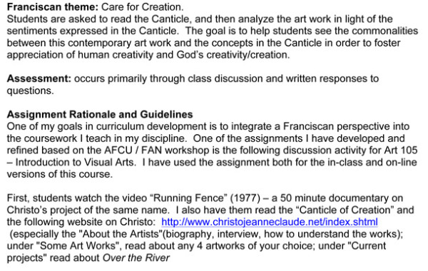 Introduction to Visual Art/Contemporary Environmental Art and Franciscan Perspective on Creation