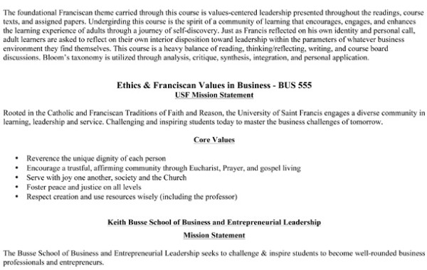 Ethics & Franciscan Values in Business/Syllabus